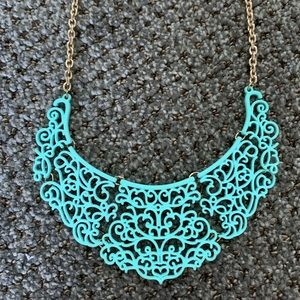 Aqua statement bib necklace